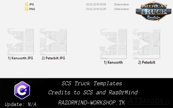 SCS Truck Templates for ATS (Peterbilt 579 + Kenworht T680)