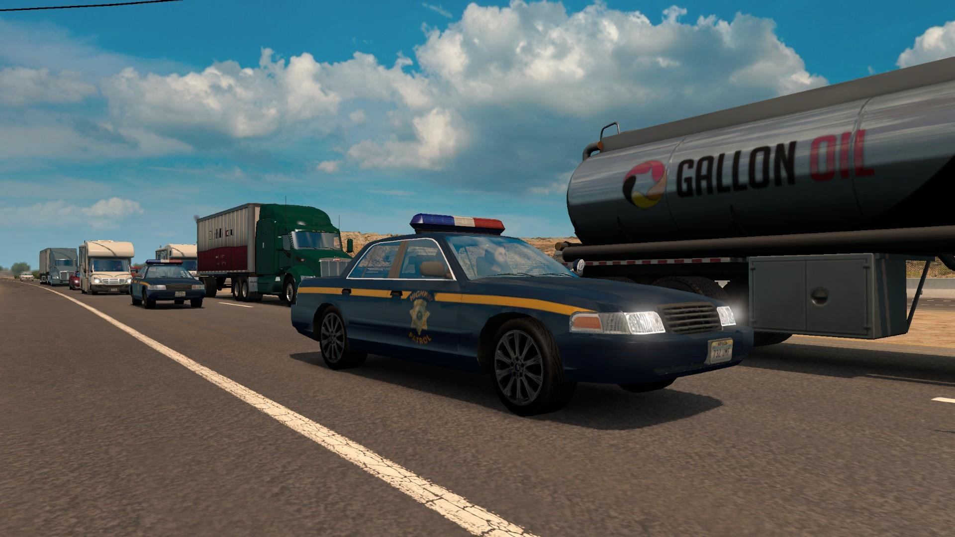 Separate California and Nevada Highway Patrol cars