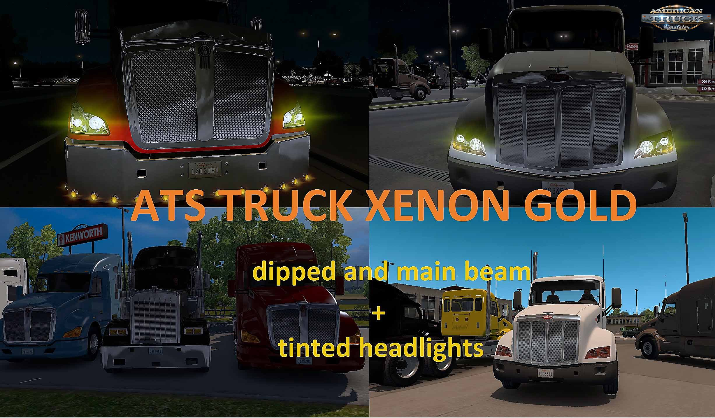 ATS TRUCK XENON GOLD dipped and main beam + tinted headlights