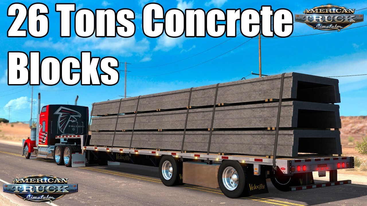 26 Tons Concrete Blocks Trailer for ATS
