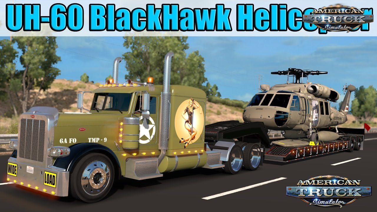 Trailer 11 Tons UH-60 BlackHawk Helicopter - American Truck Simulator