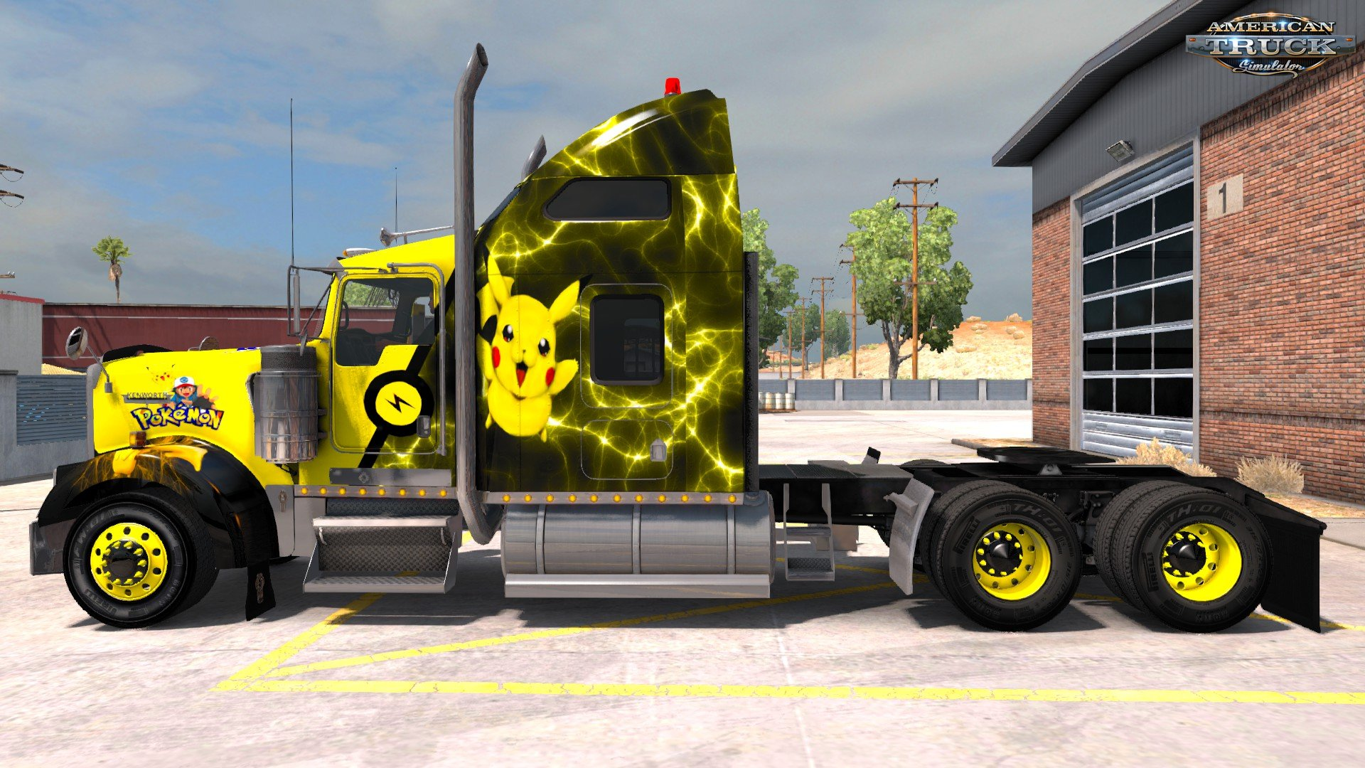 Pikachu (Pokémon) Skin for Kenworth W900 v1.0 (1.30.x)