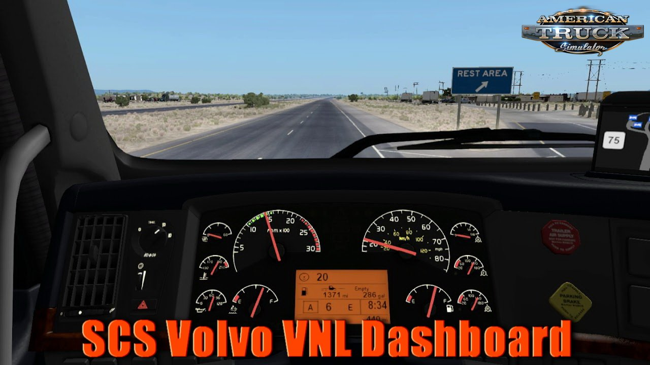 SCS Volvo VNL Dashboard v2.0 by Piva (1.32.x)