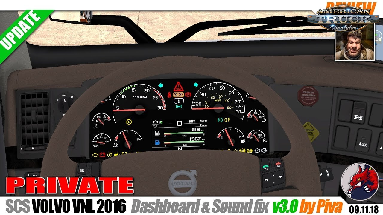 SCS Volvo VNL Dashboard v3.0 by Piva (1.32.x)