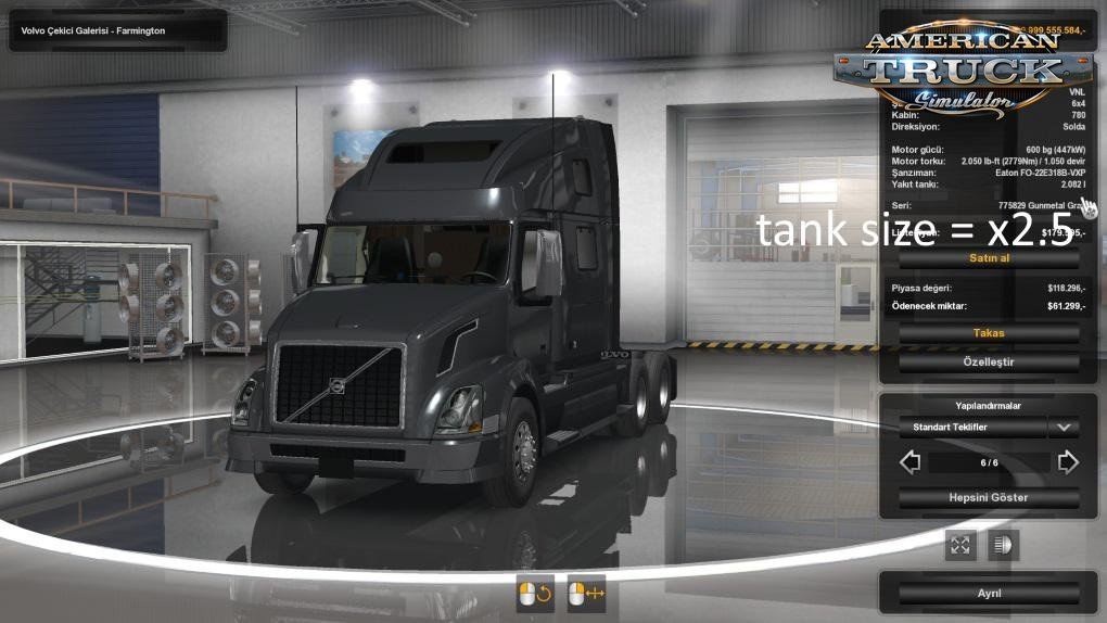 Tank size + engine torque x2.5 for all Trucks v1.0 (1.33.x) for ATS