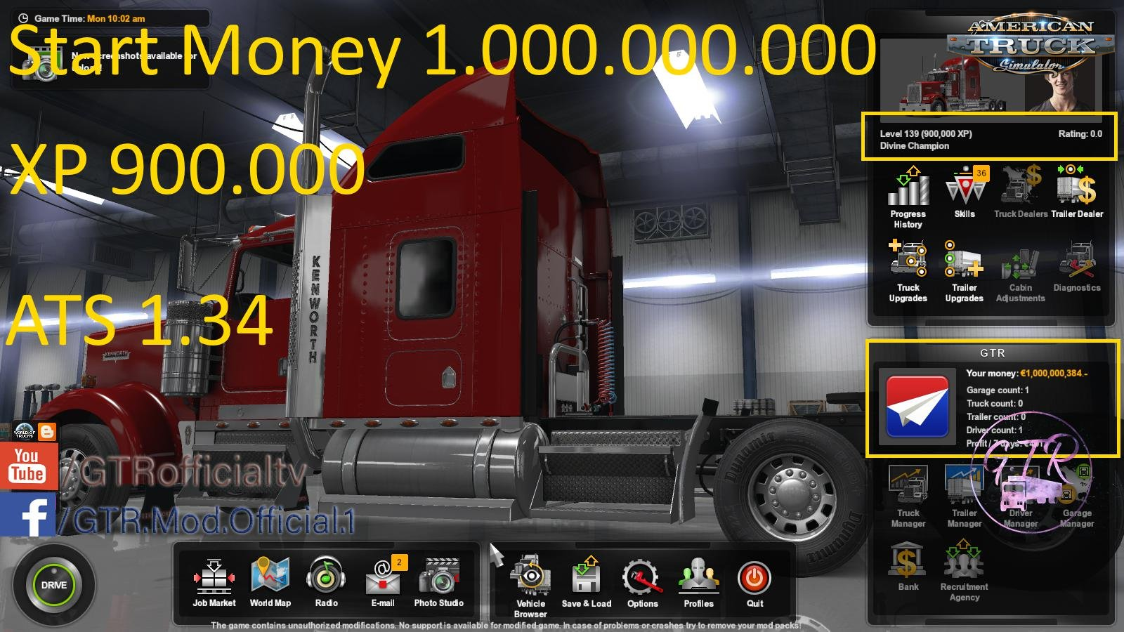 Start Money and XP for ATS (1.34.x)