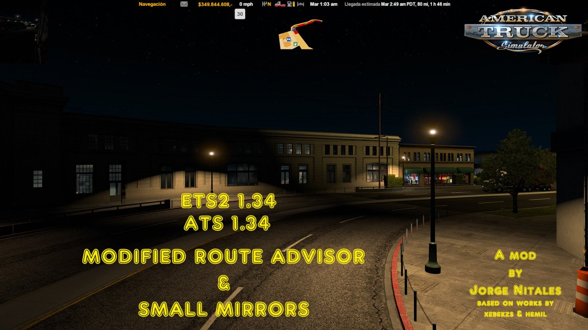 Modified Route Advisor & Small Mirrors v1.1 (1.34.x)