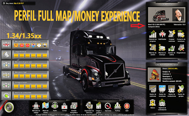 Save Game Profile for ATS 1.35.x (Money & Experience) by TUPAC-BOY