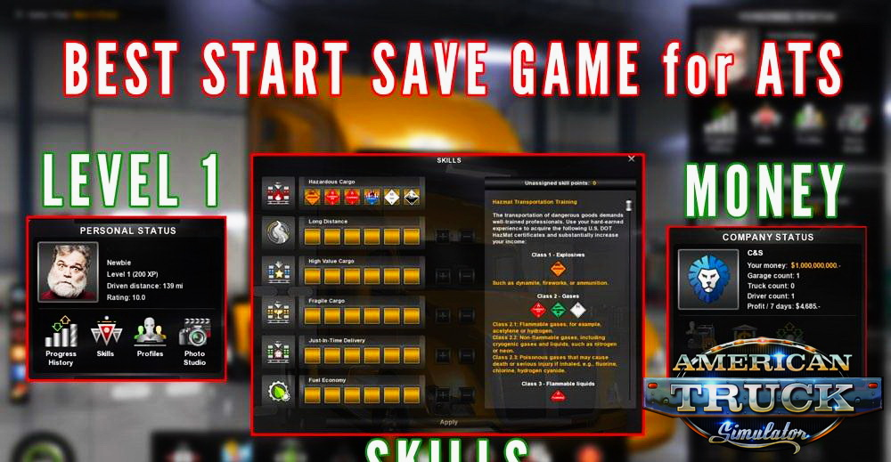 Best Start Save Game v1.0 (3 in 1) (v1.6.x) for ATS