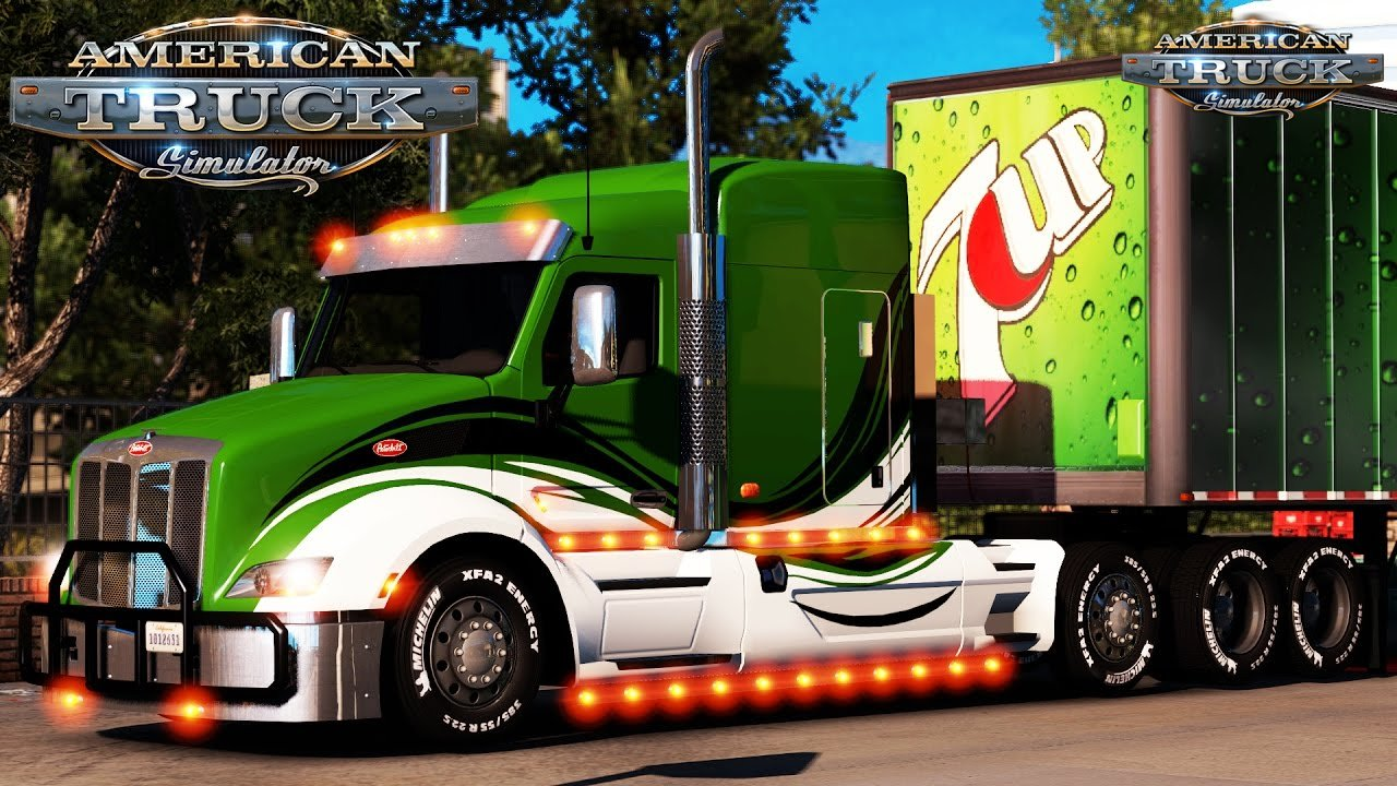 Peterbilt 579 Tom Dooley Enhanced + 7-Up Standalone Long Box Trailer - American Truck Simulator