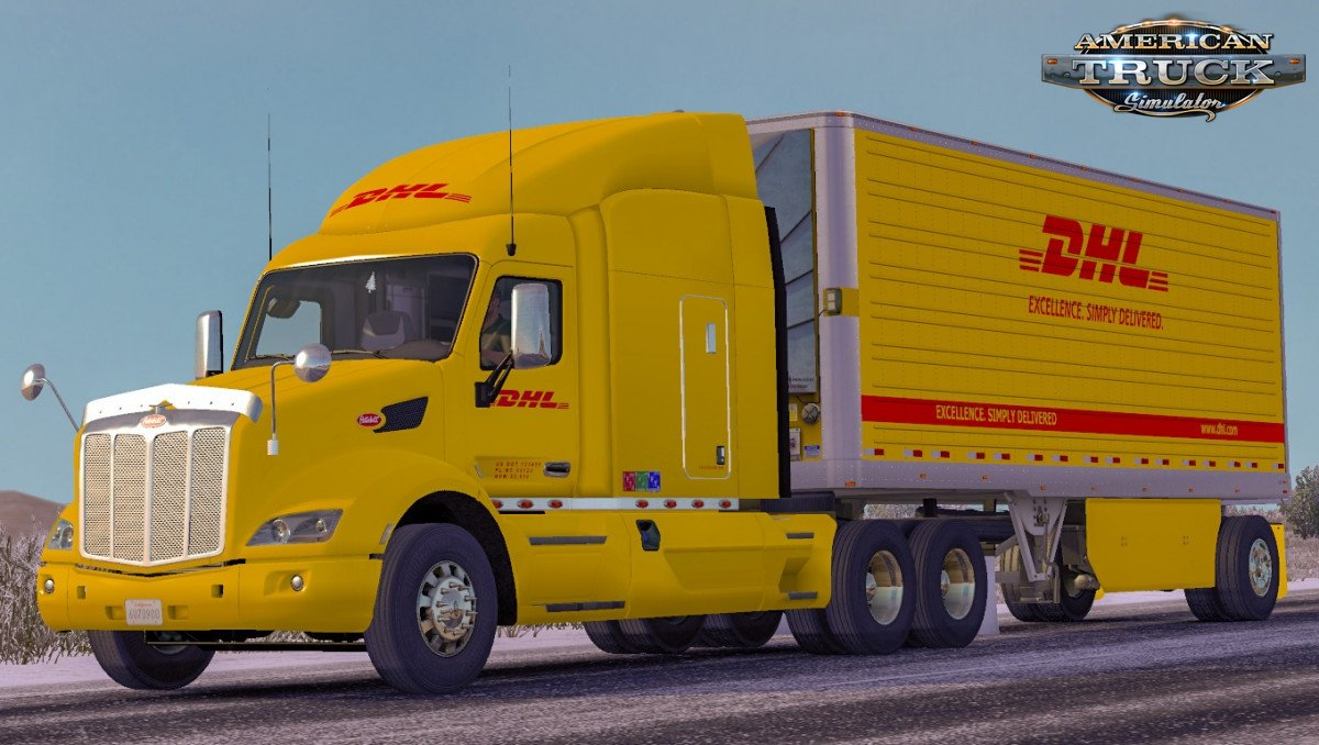 Combo Skin DHL for Peterbilt 579 + Trailer v1.0 (1.35.x)