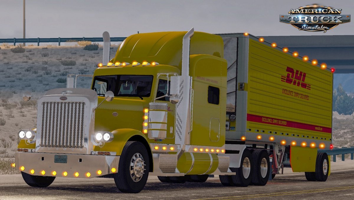 Combo Skin DHL for Peterbilt 389 + Trailer v1.0 (1.35.x)