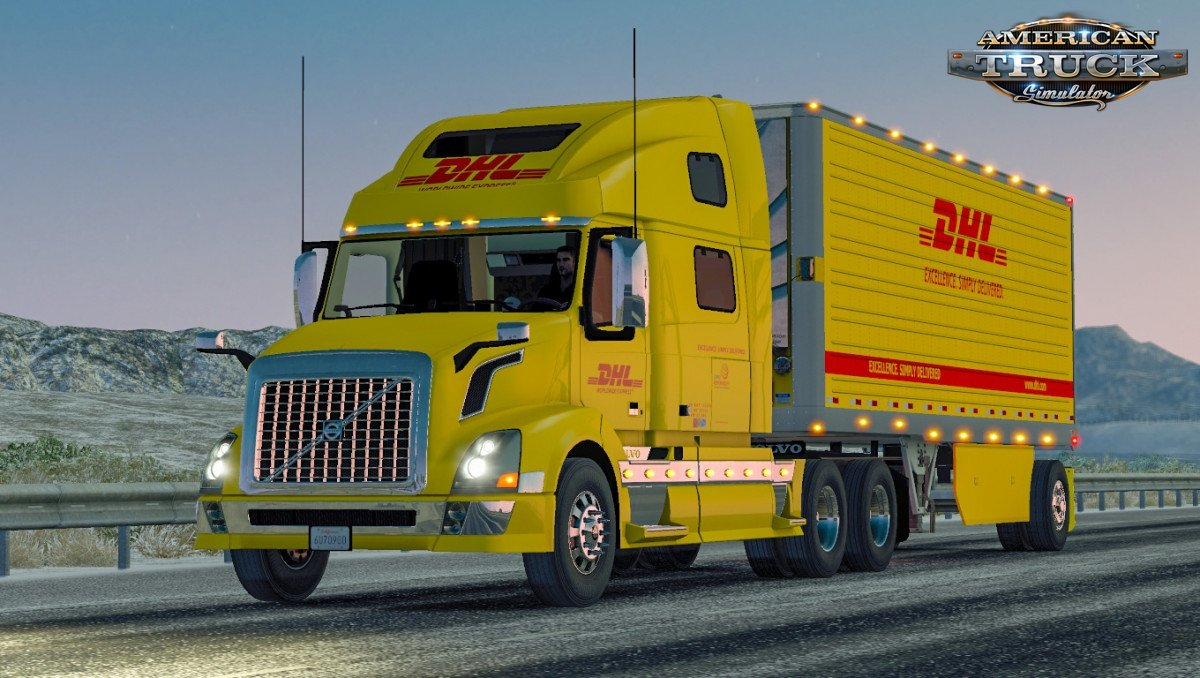 Combo Skin DHL for Volvo VNL 780 + Trailer v1.0 (1.35.x)