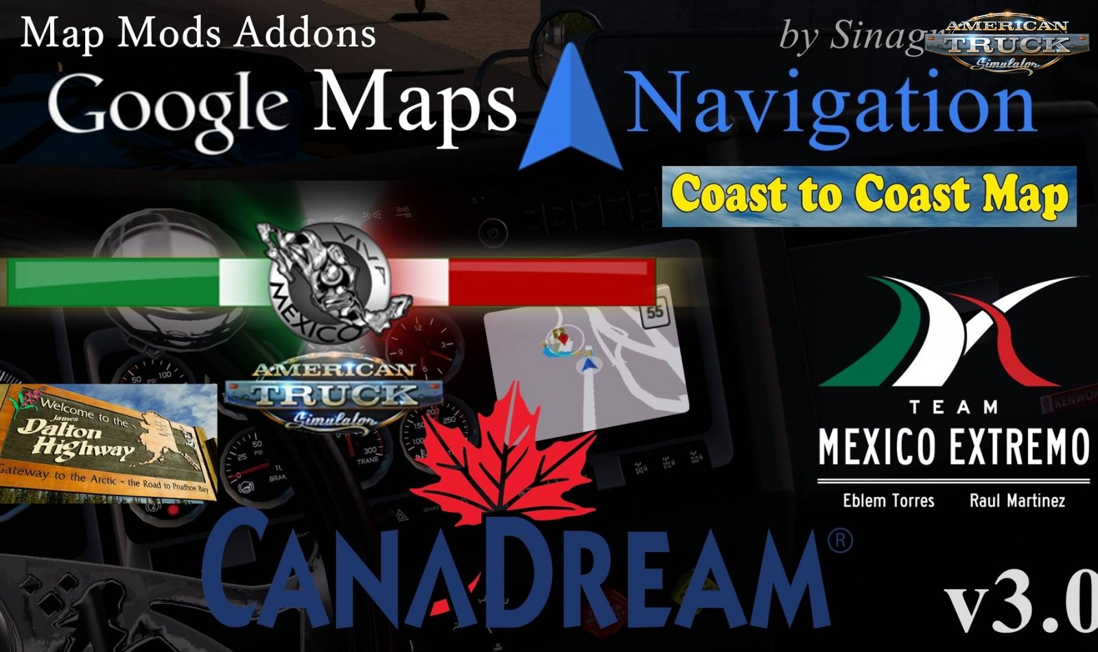 Google Maps Navigation Normal & Night Version Map Mods Addons v3.0 (1.35.x)