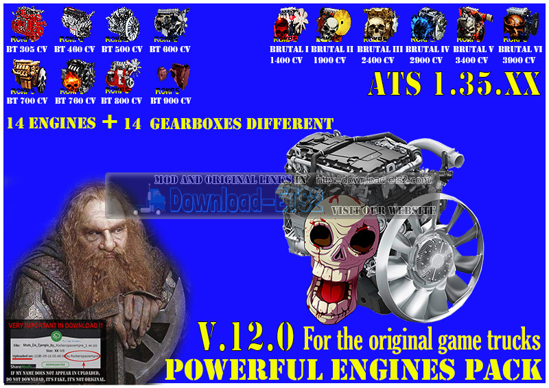Pack Powerful Engines + Gearboxes v12.2 (1.36.x) for ATS
