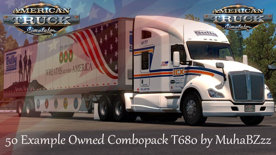 Combo MegaPack Skins for Kenworth T680 + Trailers v1.0 (1.36.x)