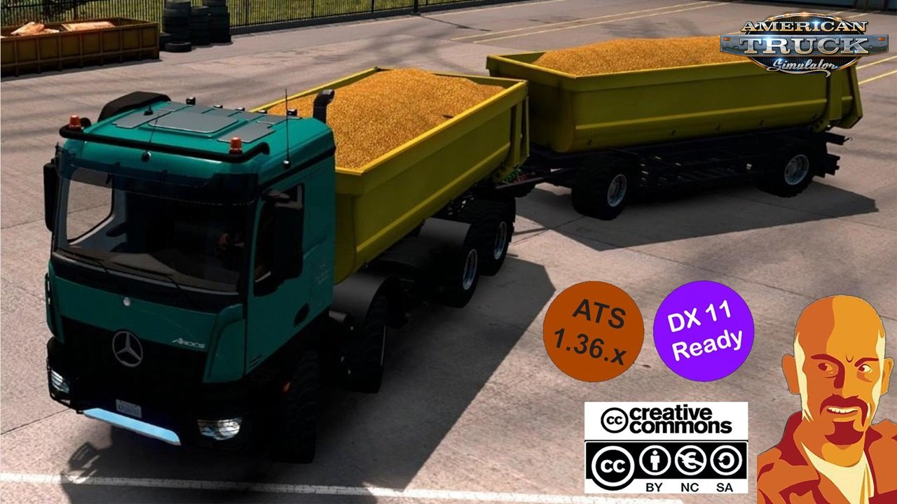 Kipper Agrar Trailer for Rear Hook Trucks in ATS 1.36.x DX11
