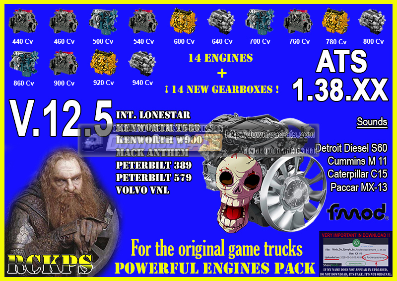 Pack Powerful Engines + Gearboxes v12.7 (1.38.x) for ATS